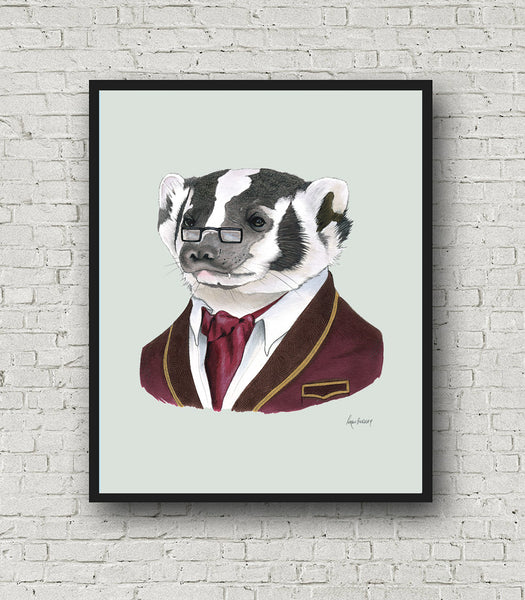Oversized Badger Gentleman Print - 16x20 or 20x28 inches