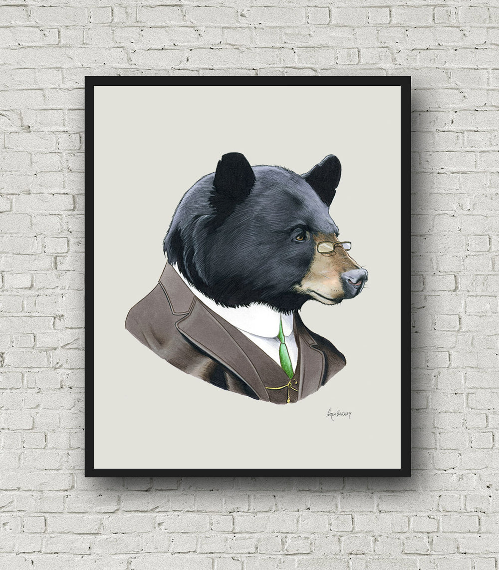 Oversized Black Bear Gentleman Print - 16x20 or 20x28 inches