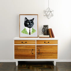 Oversized Black Cat Gentleman Print - 16x20 or 20x28 inches