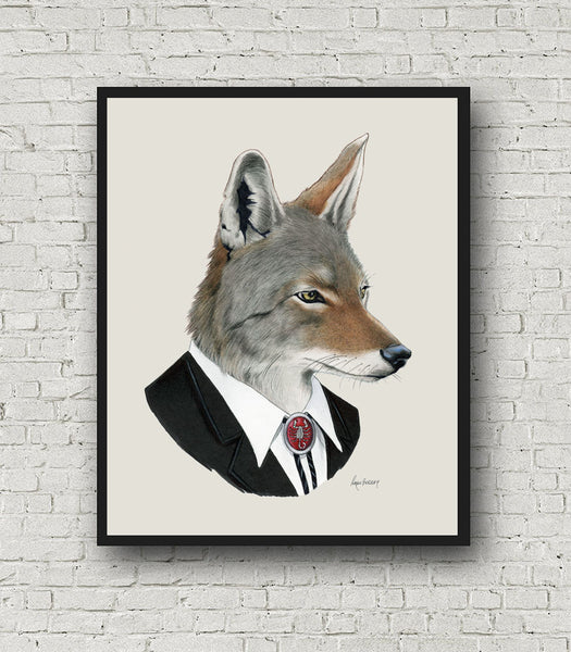 Oversized Coyote Gentleman Print - 16x20 or 20x28 inches