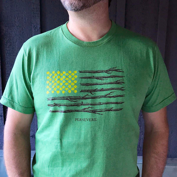 Persevere T-shirt : America Nature Flag