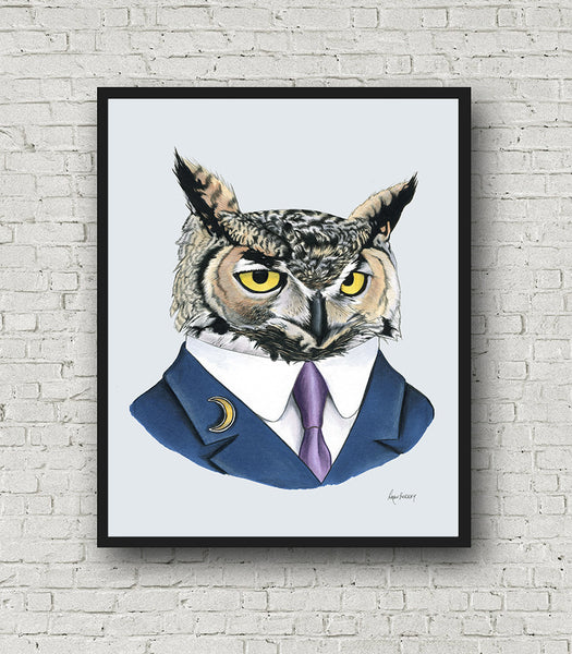 Oversized Horned Owl Print - 16x20 or 20x28 inches
