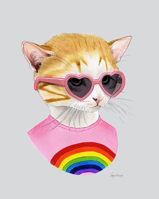 Cat art print - Rainbow Kitten