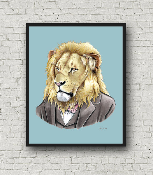 Oversized Lion Gentleman Print - 16x20 or 20x28 inches