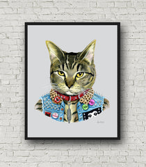 Oversized Punk Cat Print - 16x20 or 20x28 inches