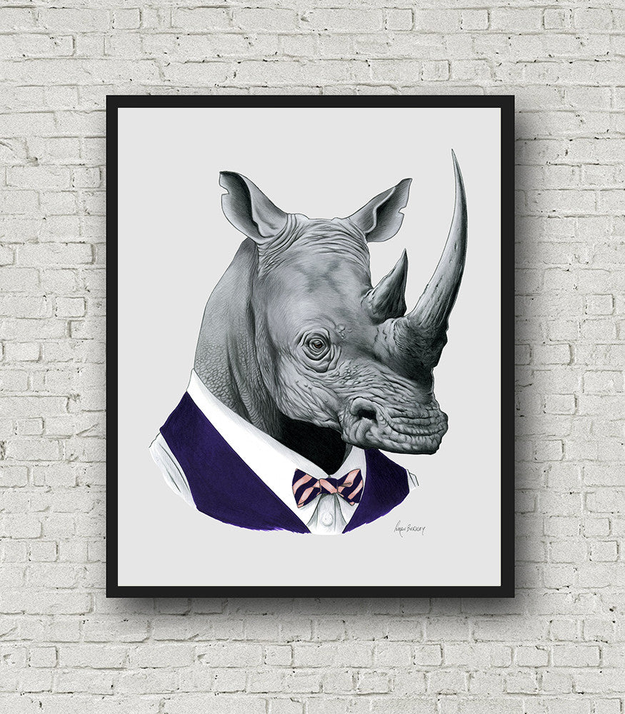 Oversized Rhino Gentleman Print - 16x20 or 20x28 inches