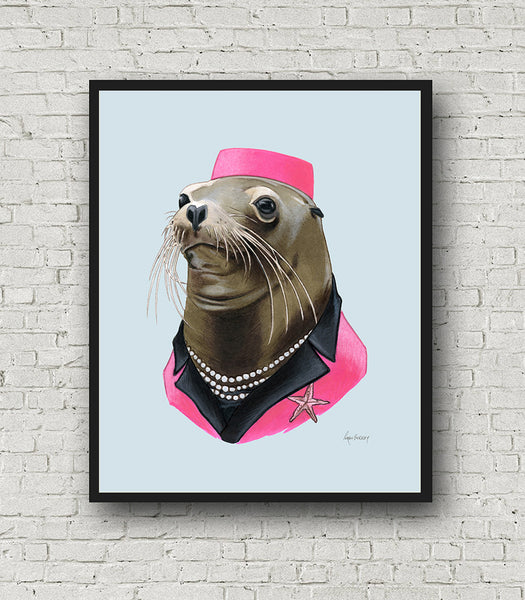 Oversized Sea Lion Lady Print - 16x20 or 20x28 inches