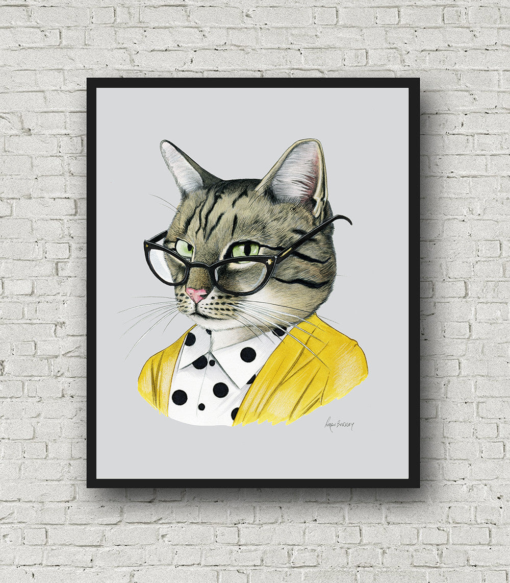 Oversized Tabby Cat Lady Print - 16x20 or 20x28 inches