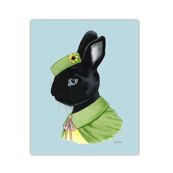 Rabbit Art Print - Black Rabbit Lady