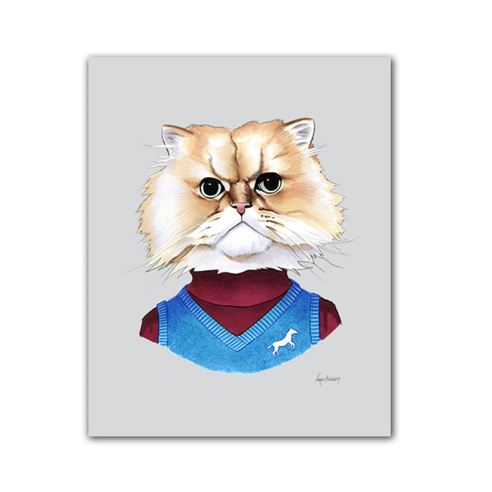 Cat art print - Fuzzy Cat Gentleman