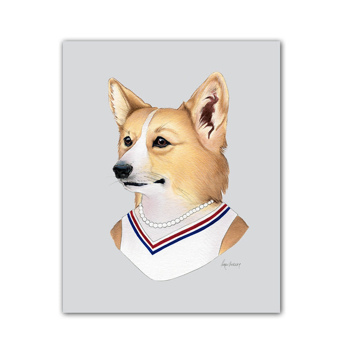Dog Art Print - Corgi Lady