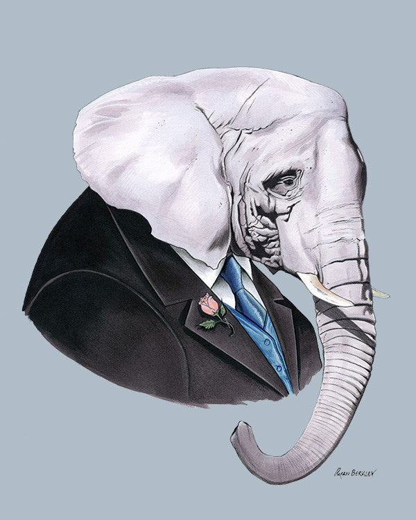 Elephant Gentleman Art Print