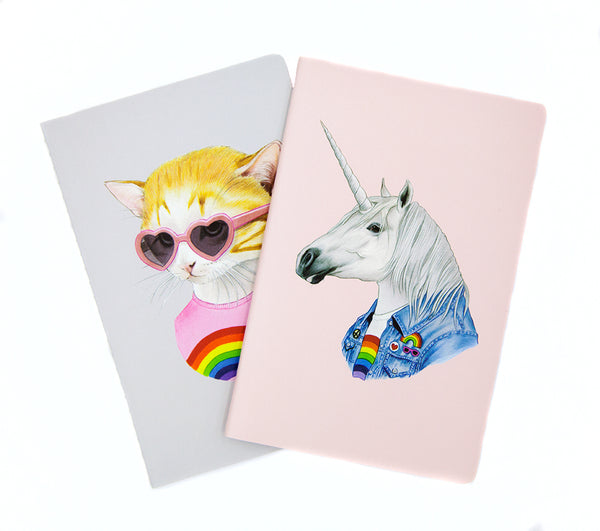 Mini Notebook Set - Rainbow Kitten and Unicorn