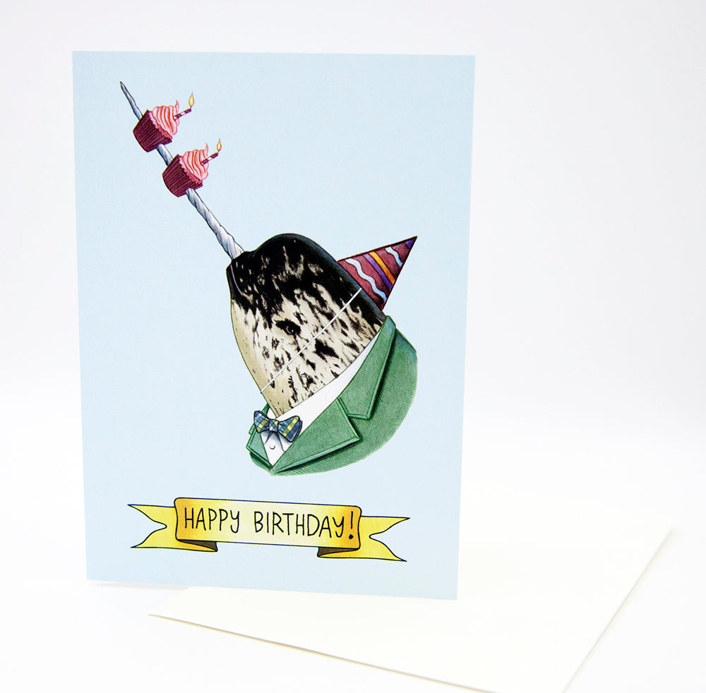 Happy Birthday Card - Party Narwhal
