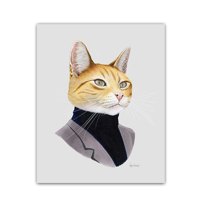 Cat art print - Orange Cat Gentleman