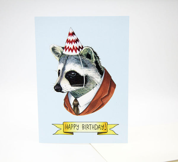 Happy Birthday Card - Party Raccoon