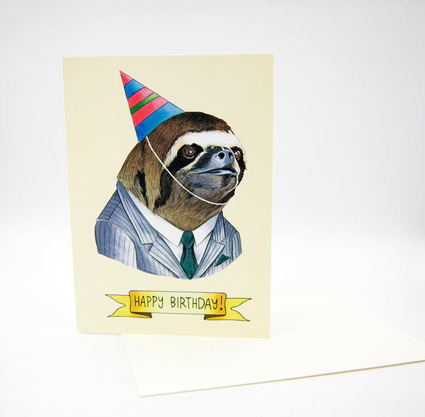 Happy Birthday Card - Party Sloth