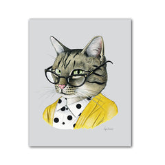 Cat art print - Tabby Cat Lady
