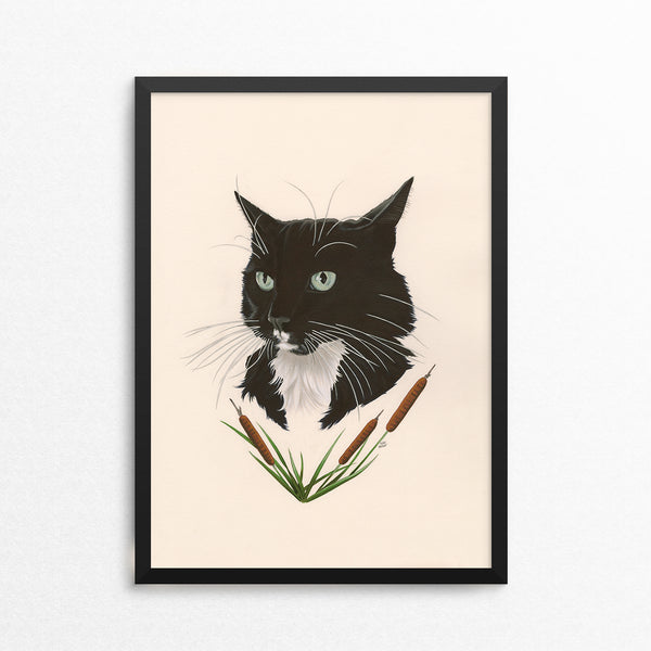 Tuxedo Cat / Cattails - Naked Animals Print