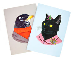 Notebook Set - Black Cat and Robin