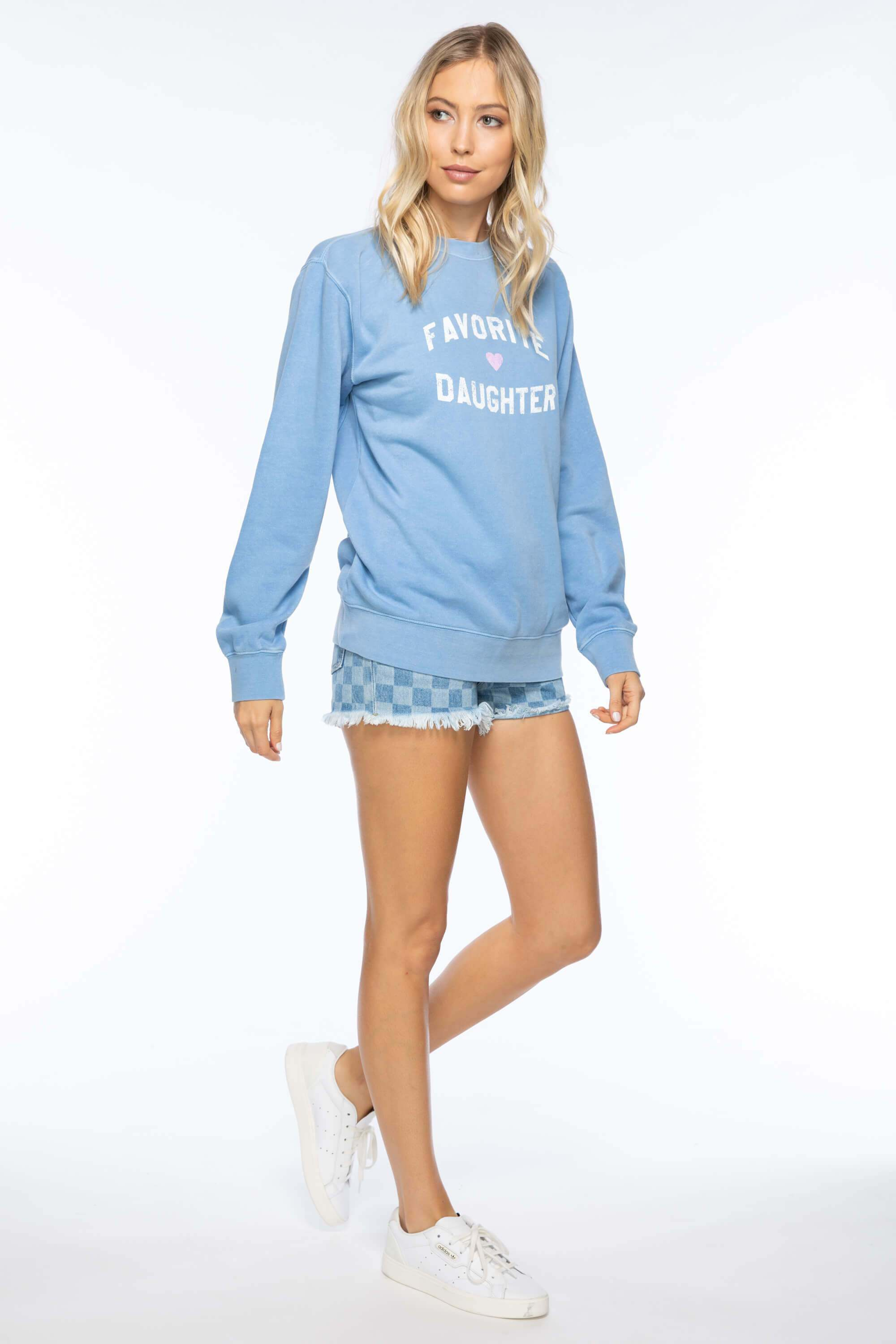 FAVORITE DAUGHTER WILLOW SWEATSHIRT - LIGHT BLUE