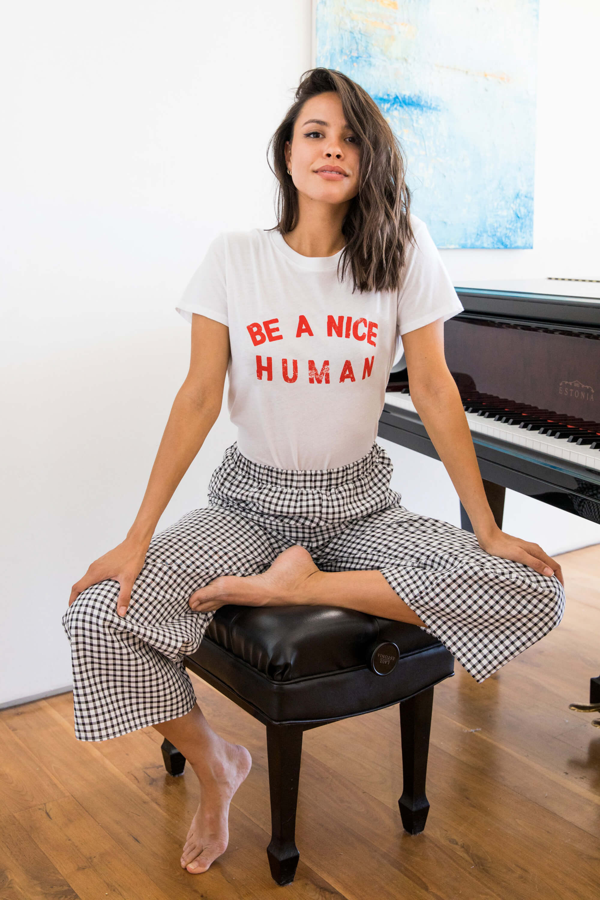 BE A NICE HUMAN LOOSE TEE - WHITE