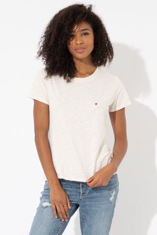 HEART EMB ANTIQUE WHITE LOOSE TEE