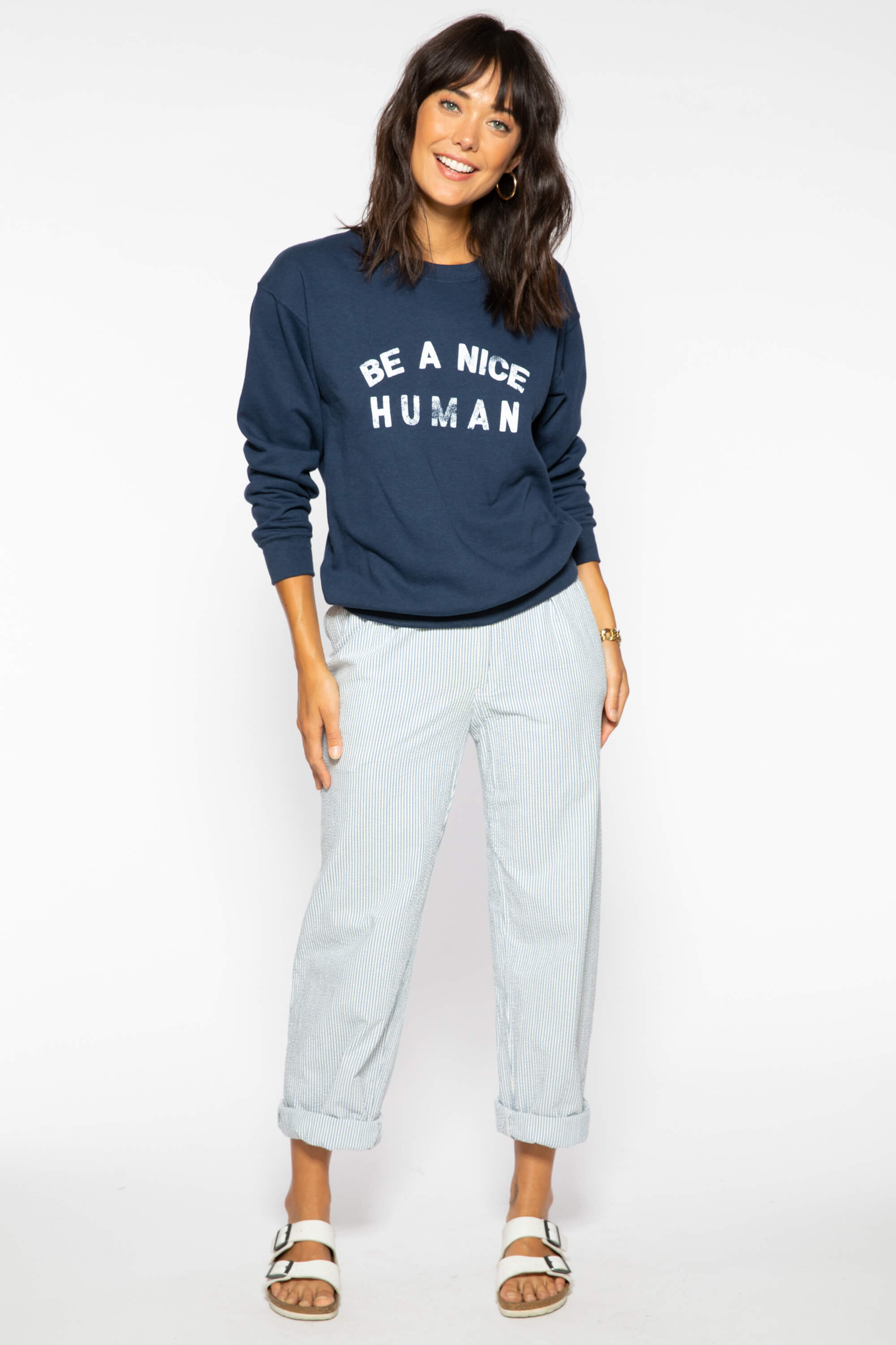 BE A NICE HUMAN WILLOW SWEATSHIRT - NAVY