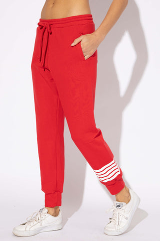 CAMBRIDGE STRIPE SWEATS - CHERRY