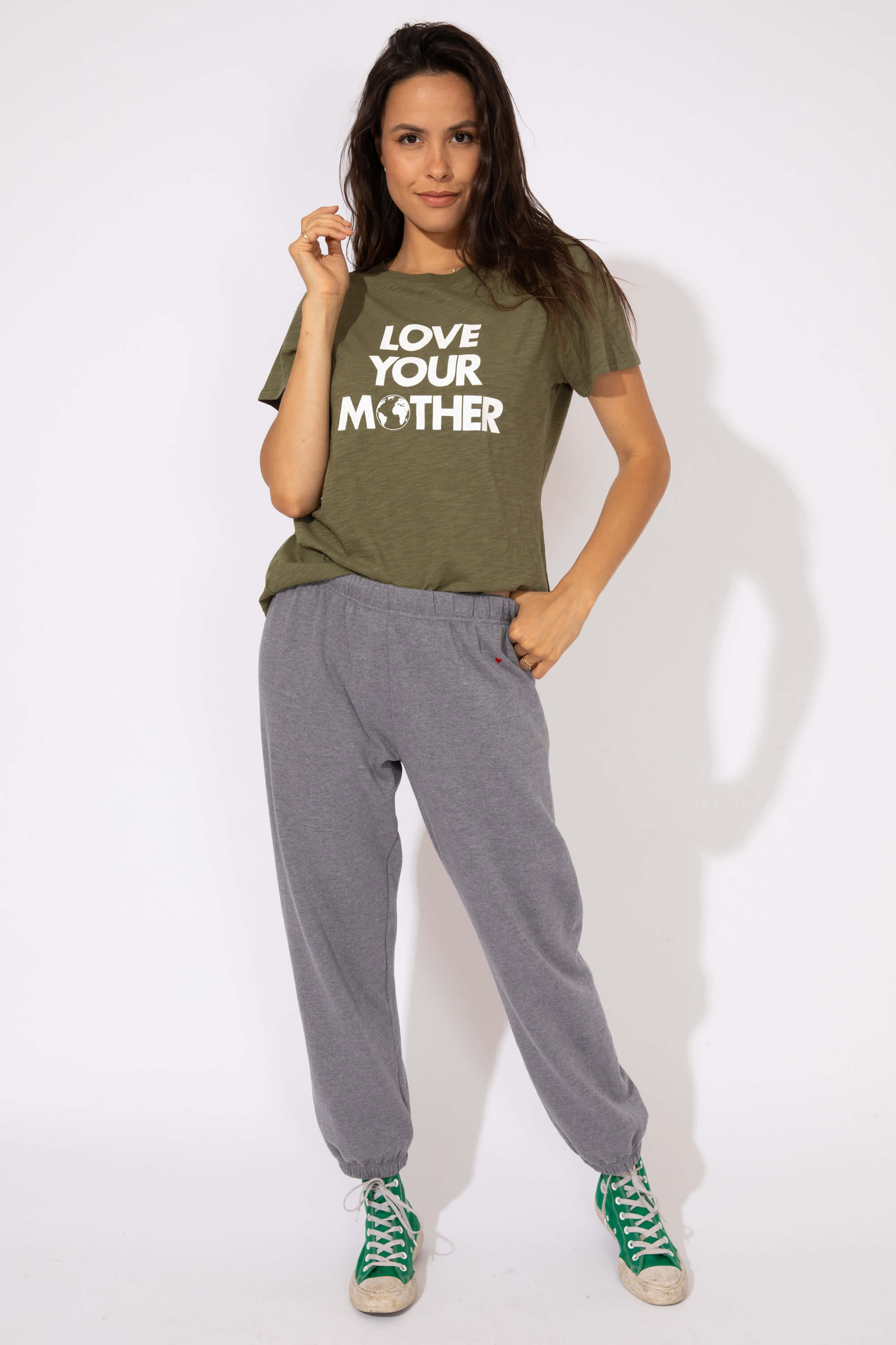 HEART EMB UNDERGRAD SWEATS - HTHR