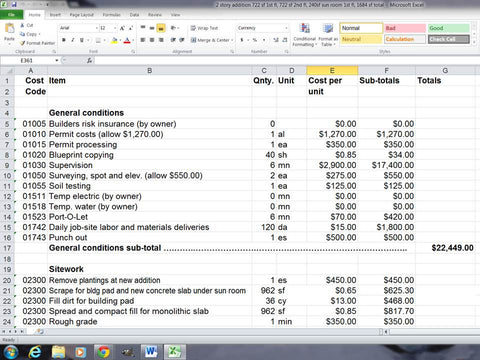products tagged construction estimating spreadsheet template u
