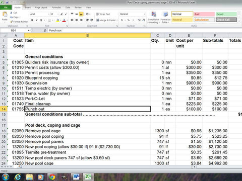 Residential construction estimating templates made easy if you need excel spreadsheet template remodel pool deck pavers and cage 1300 sf area downloadable malvernweather Choice Image