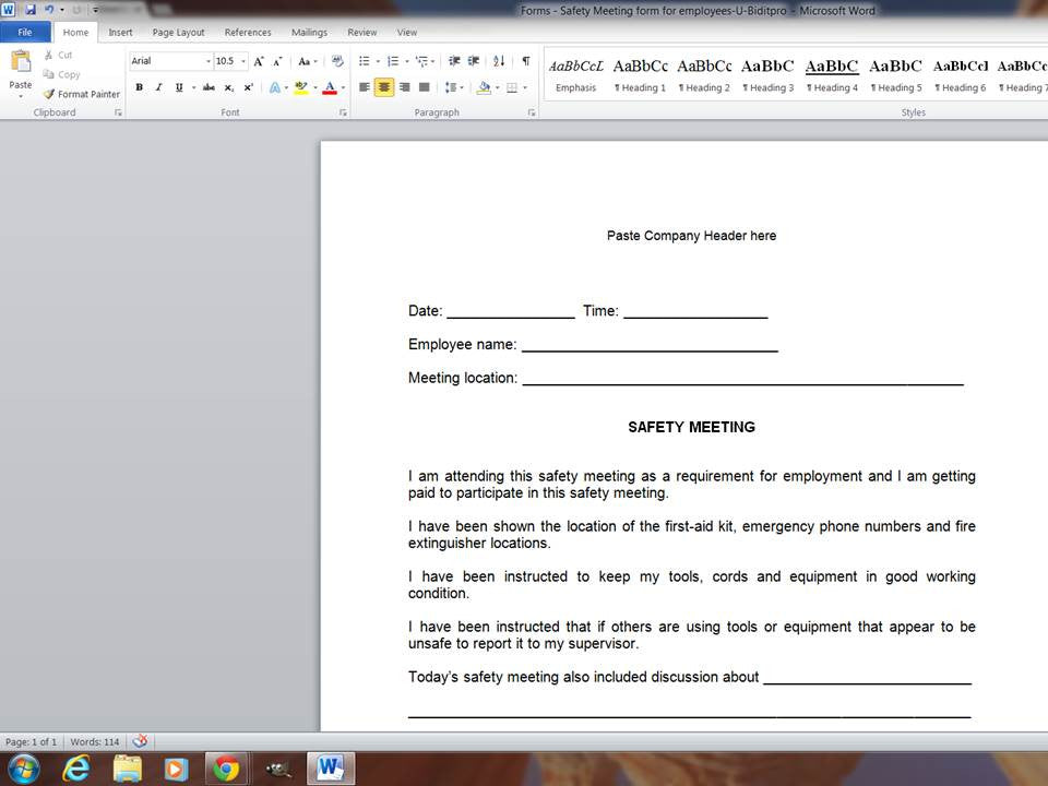 forms safety meeting form for employee downloadable u bid it pro