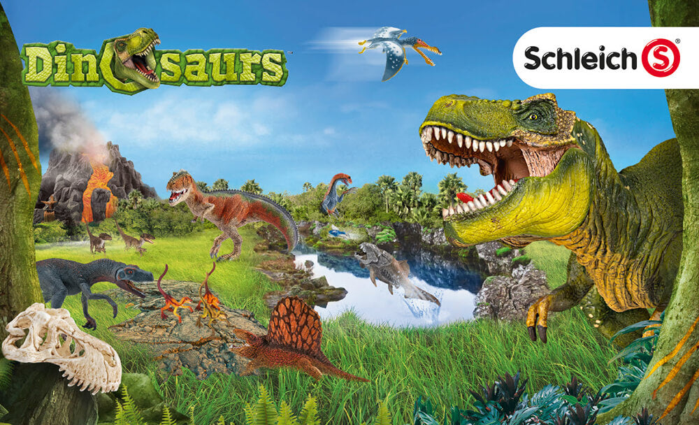 Schleich Dinosaurs logo and a scene of dinosaurs, which prominently displays the Tyrannosaurus Rex on the right.