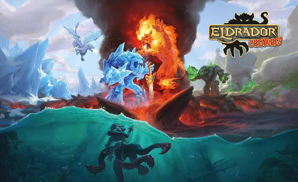 Schleich Eldrador Creatures logo, with a scene featuring the four powers of Eldrador: fire, water, ice, and stone.