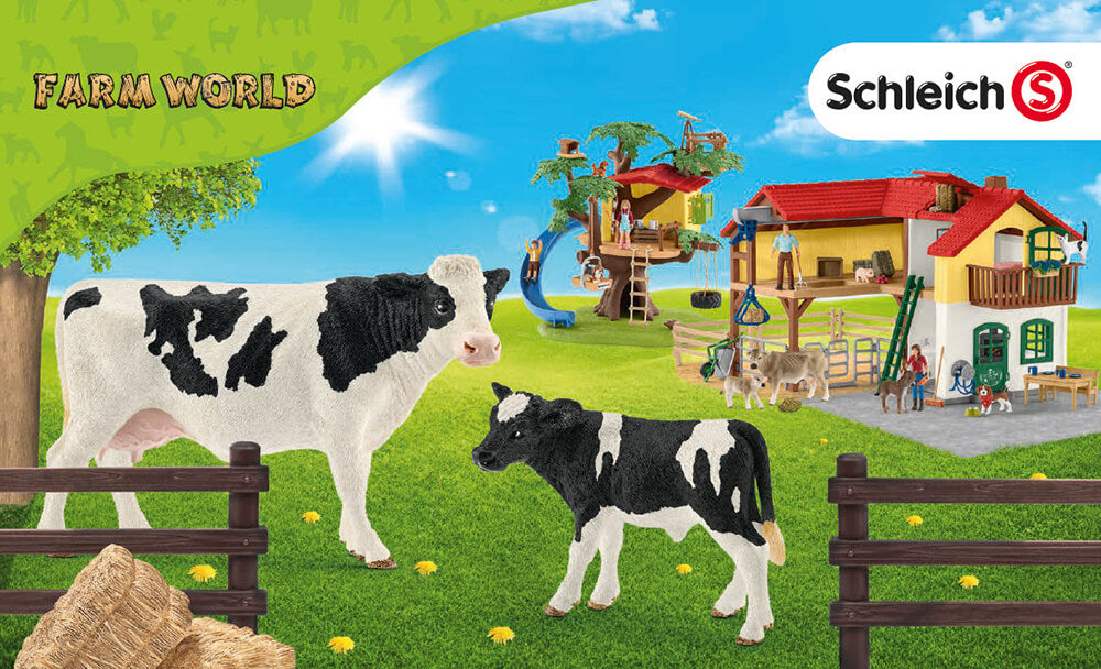 Schleich Farm World display with animals and on a farm. All pieces used are Schleich toys.
