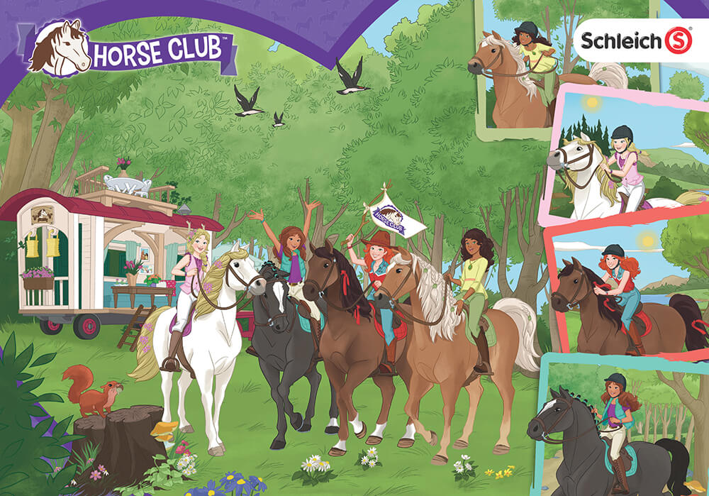Schleich Horse Club display features four friends on their favorite horses.