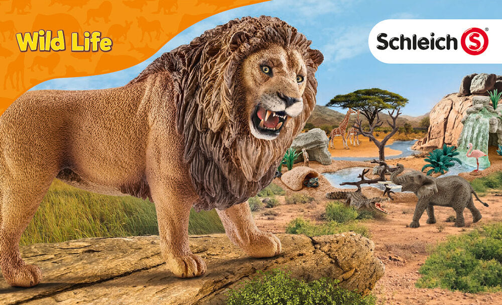 Schleich Wild Life logo featuring a lion in the savanna with an elephant and giraffes in the background at a water source.