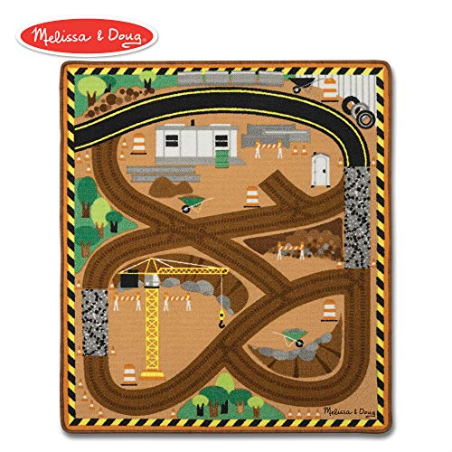 Melissa & Doug Round the Site Construction Truck Activity Rug