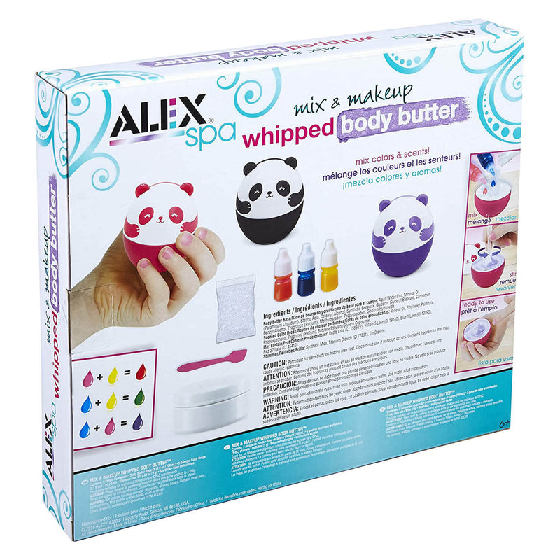 Back of ALEX Spa Mix And Makeup Whipped Body Butter Activity Set package.