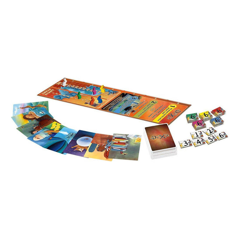 Dixit Game pieces and gameboard layout.