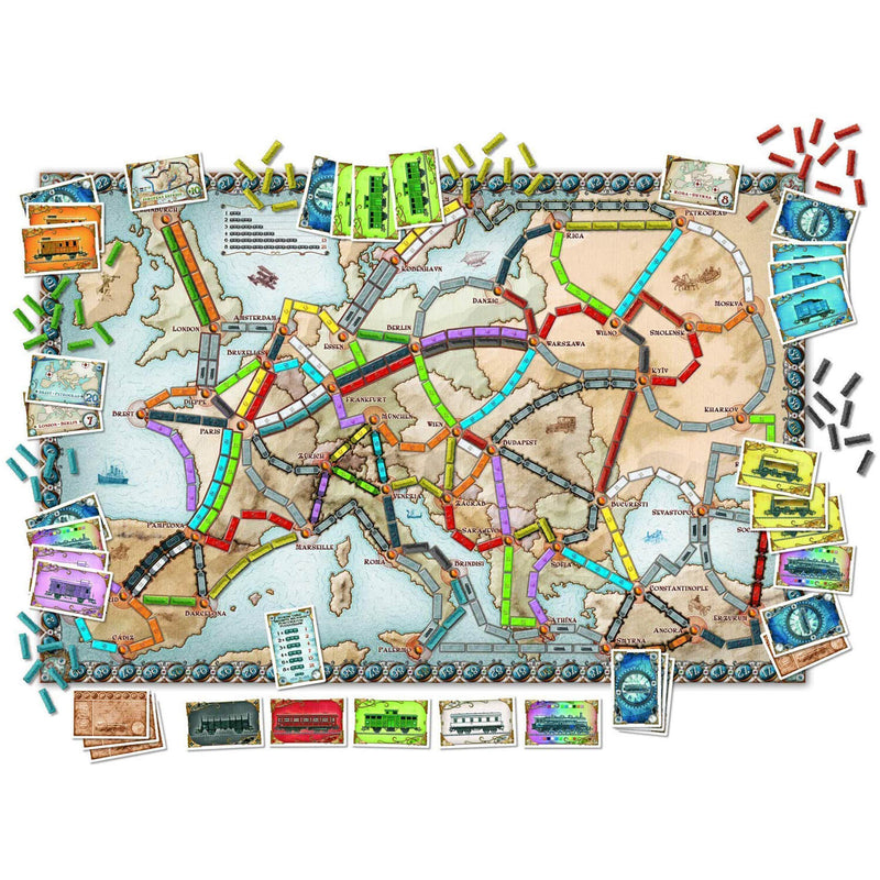 Example settup of Ticket to Ride Europe Game board.