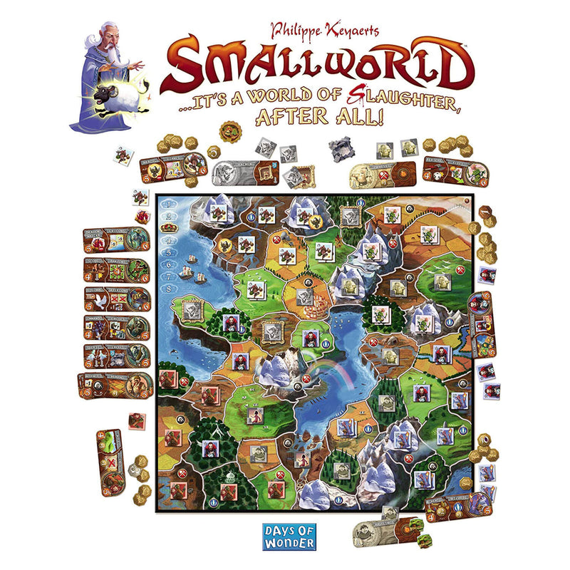 Example gameboard setup of Small World Game.