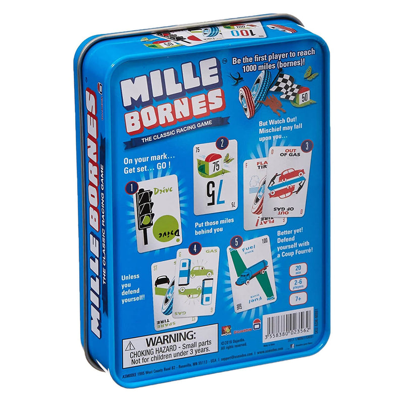 Back of Mille Bornes Game package.