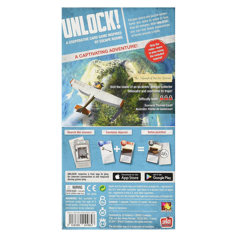 Back of UNLOCK! The island of Doctor Goorse Game package.