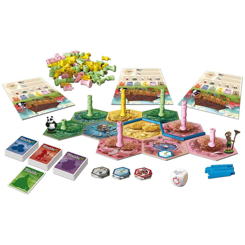 Takenoko game board and pieces layed out.
