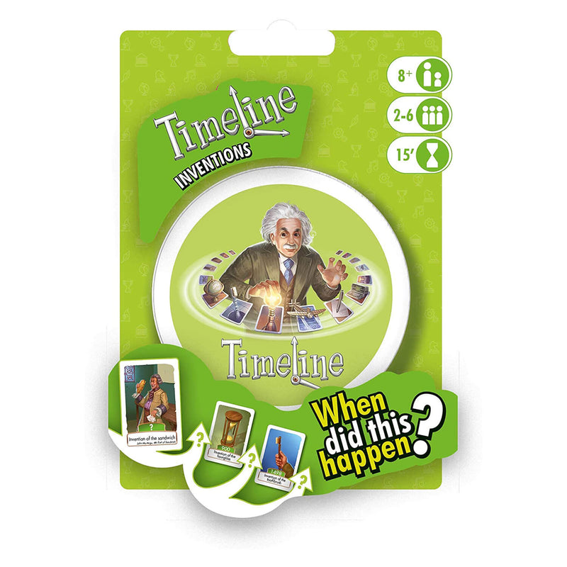 Frontal view of Timeline Inventions Game package.