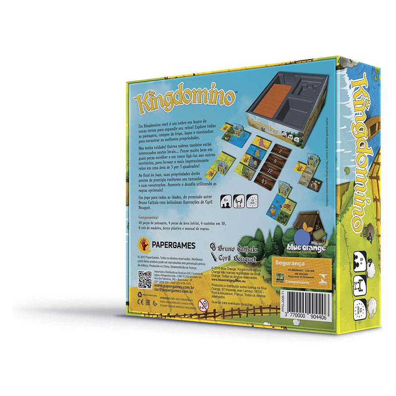 Back view of Blue Orange Kingdomino Game package.