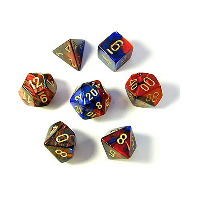 Chessex Gemini Blue-Red Gold Polyhedral 7-Die Set
