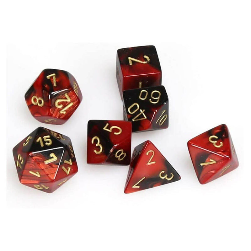 Chessex Gemini Black-Red Gold Polyhedral 7-Die Set